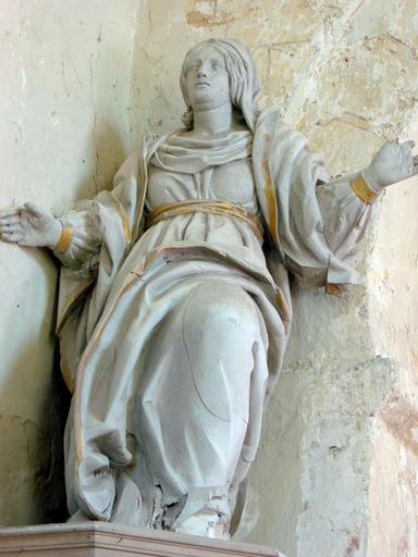 2 statues : Vierge, ange Gabriel