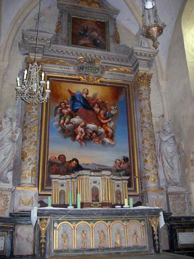 Maître-autel ; tabernacle ; retable : Vierge à l'Enfant, Saint Sébastien, Christ, Saint Nicolas, Saint Denis (?)