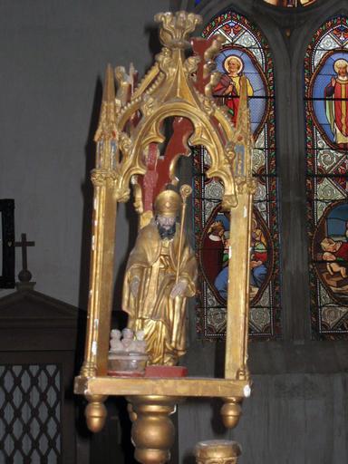 2 bâtons de procession de confrérie : Vierge, saint Nicolas