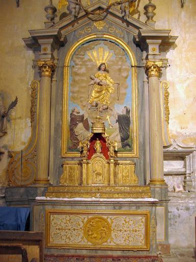Autel, retable, tabernacle, bas-relief : l'Institution du Rosaire