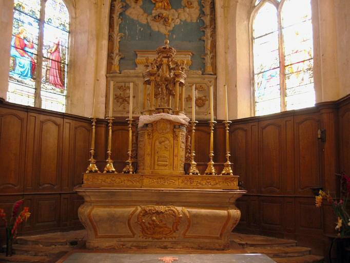 Maître-autel, tabernacle, exposition, lambris de demi-revêtement