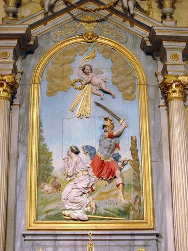Bas-relief : Martyre de sainte Beline