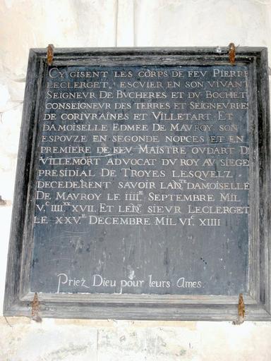 Dalle funéraire de Pierre Le Clerget et d'Edmée de Mauroy
