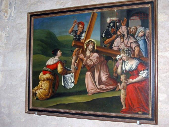 Panneau peint : Portement de Croix