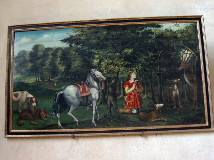 Panneau peint : Chasse de saint Hubert