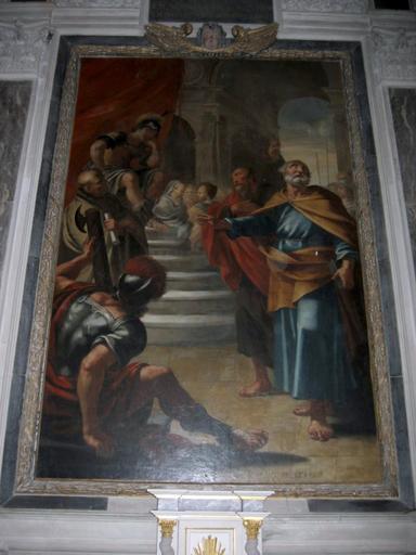2 tableaux : Jugement de saint Pierre, Dieu le Père