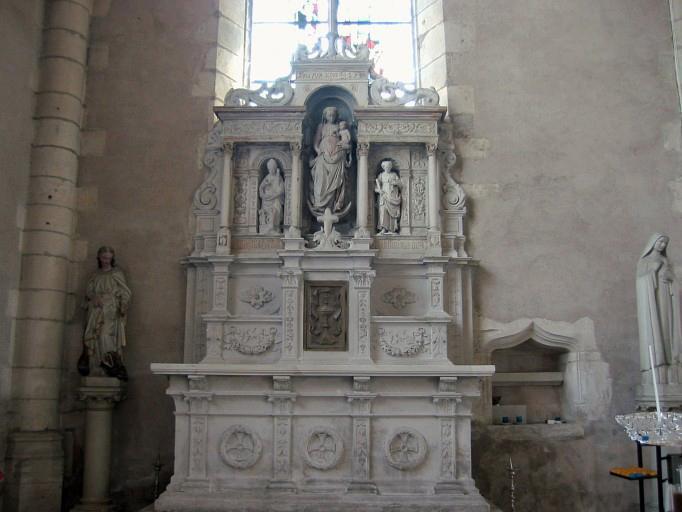 Autel de la chapelle de la Vierge, retable et tabernacle