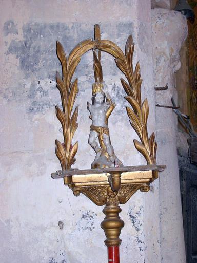 Bâton de procession de confrérie : Saint Sébastien