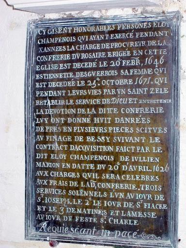Plaque commémorative de fondation d'Eloi Champenois et de sa femme
