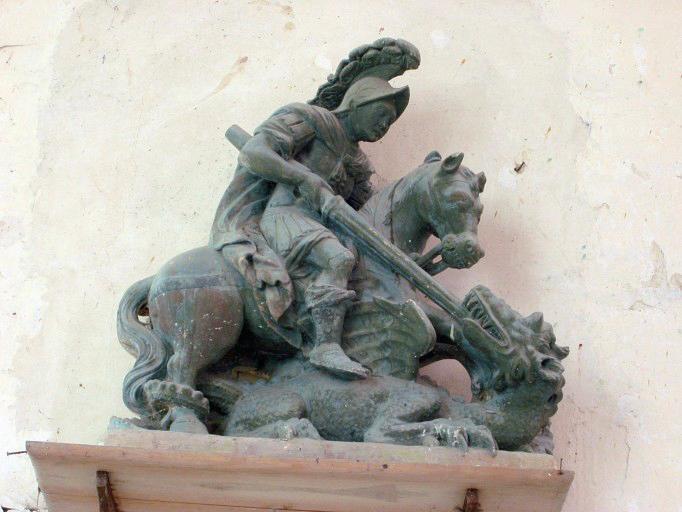 Groupe sculpté : Saint Georges terrassant le dragon