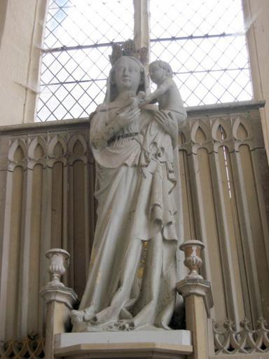 Statue : Vierge à l'Enfant à l'oiseau