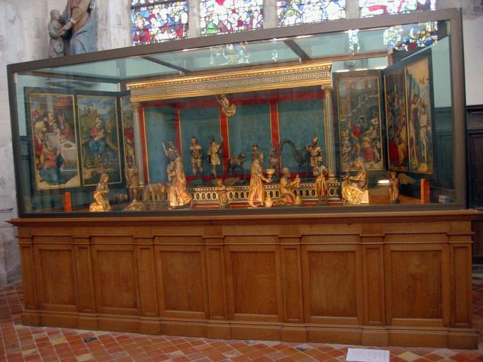 Crèche-polyptyque : Adoration des bergers et des Mages, scènes de la vie du Christ et de la Vierge