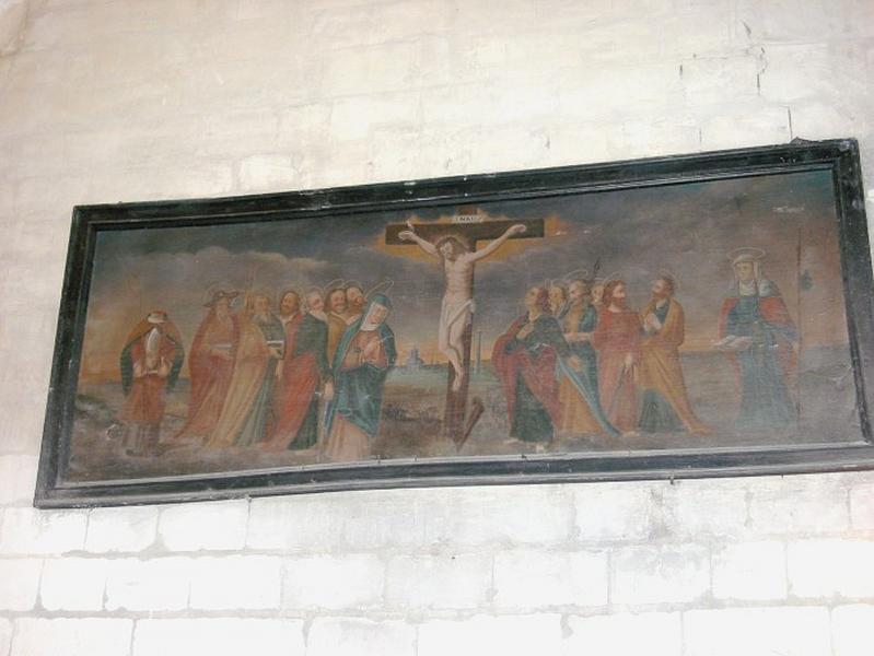 Tableau : Christ en croix entre la Vierge, les apôtres, saint Denis et sainte Savine