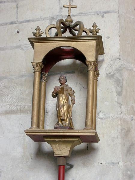 2 bâtons de procession de confrérie : Saint Fiacre, saint Vincent
