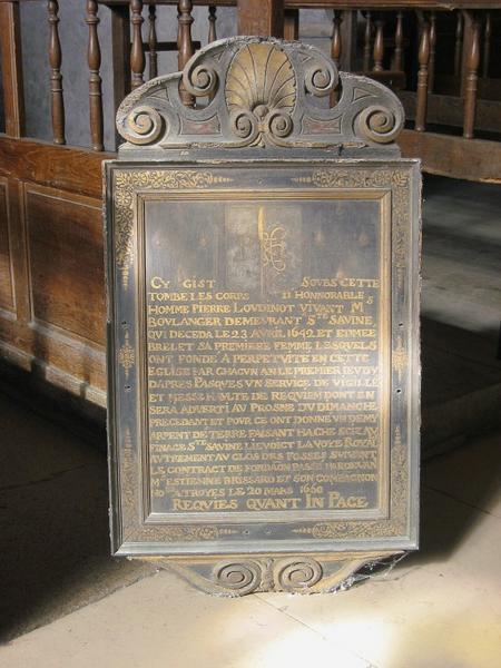 Tableau commémoratif : plaque obituaire de Pierre Loudinot et de sa femme