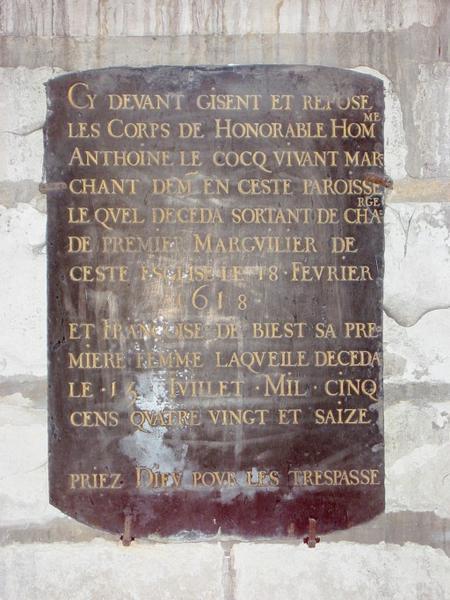 Dalle funéraire d'Antoine Le Coq et de sa femme
