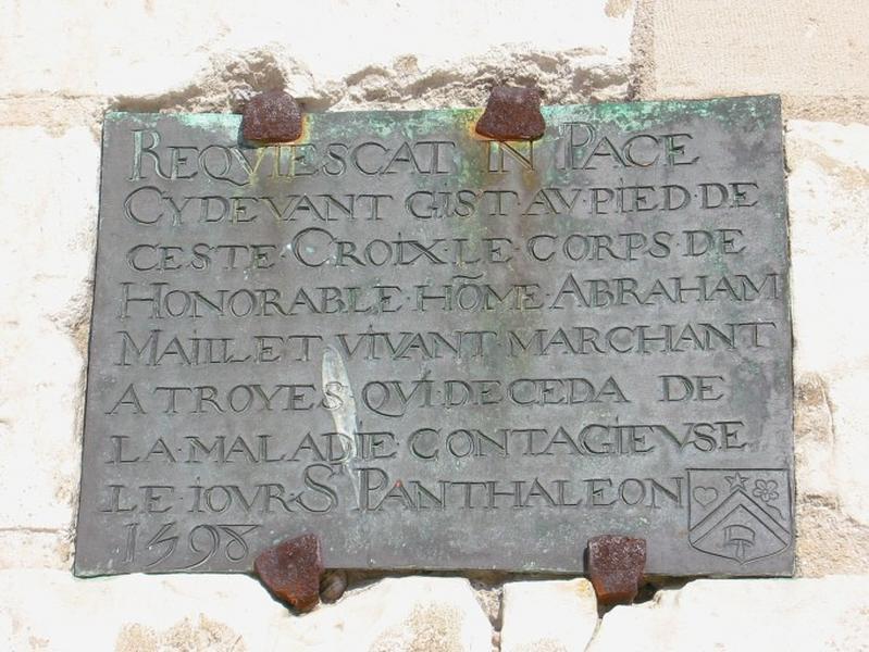 Plaque funéraire d'Abraham Maillet
