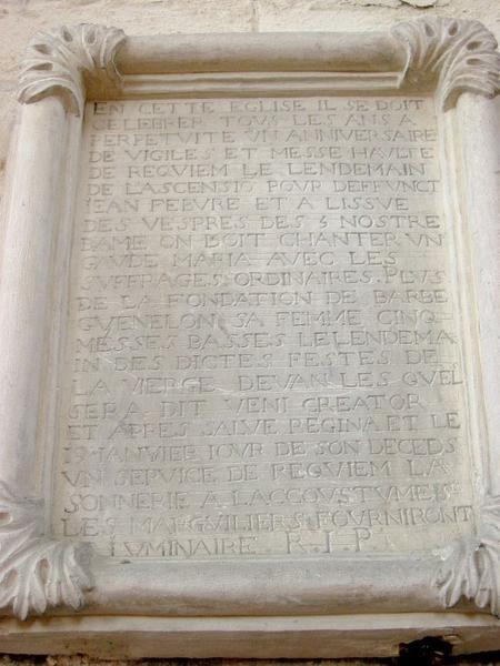 Plaque commémorative : plaque obituaire de Jean Febvre