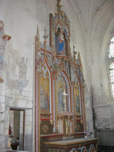 Retable, tabernacle, 5 statues