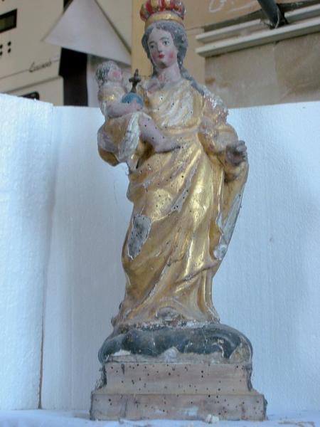 Statuette de bâton de procession : Vierge à l'Enfant