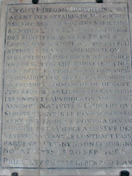 Plaque commémorative : plaque obituaire de Hierosme Berthelin