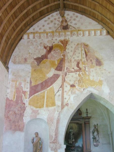 Peinture monumentale : Saint Christophe, Christ et Marie-Madeleine, apôtres, Baiser de Judas