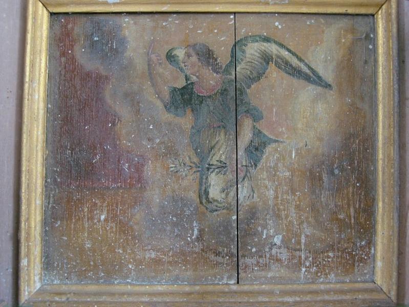 2 panneaux peints : Vierge, archange Gabriel