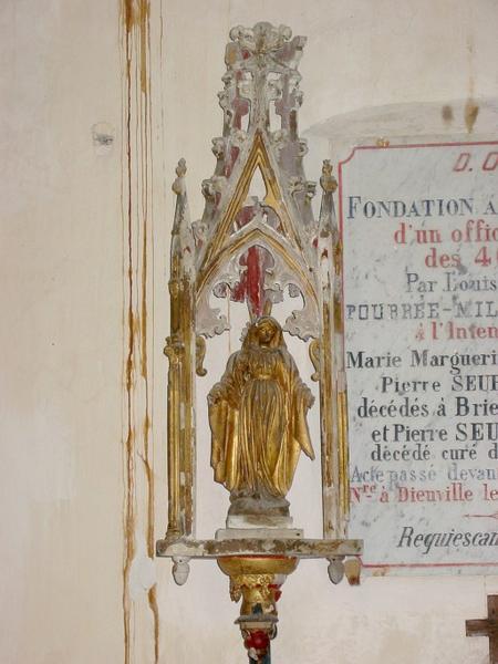 4 bâtons de procession de confrérie : Vierge, Vierge à l'Enfant, saint Nicolas, saint Vincent