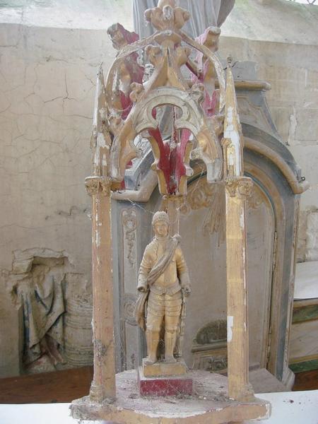 Bâton de procession de confrérie : Vierge à l'Enfant, saint Julien