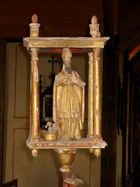 2 bâtons de procession de confrérie : Vierge à l'Enfant, saint Nicolas