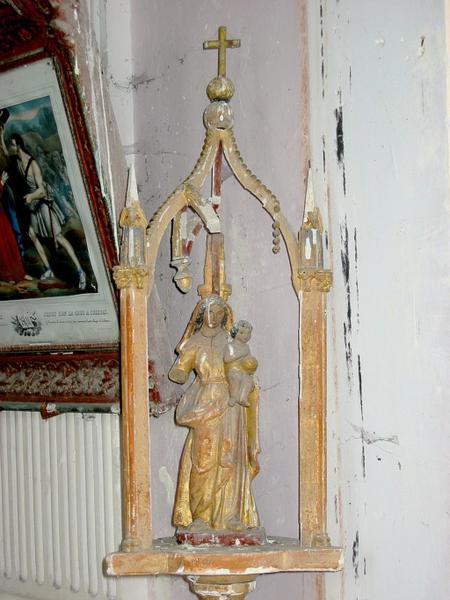 2 bâtons de procession de confrérie : Vierge à l'Enfant, saint