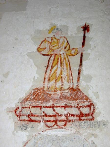 Peintures monumentales : Saint Mathieu, saint Thomas, saint Georges, saint Nicolas, saint Claude, saint Fiacre