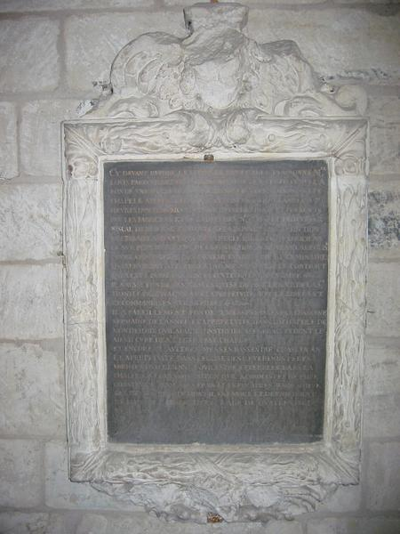 Plaque commémorative de fondation de Louis Paris