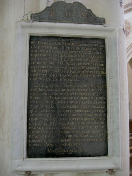 Dalle funéraire : plaque obituaire d'Antoinette Gaudissart