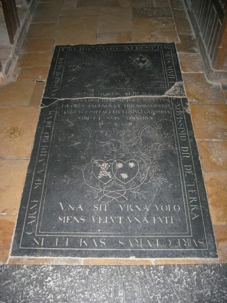 Dalle funéraire de Jacques Angenoust et Marie Chiffalot sa femme