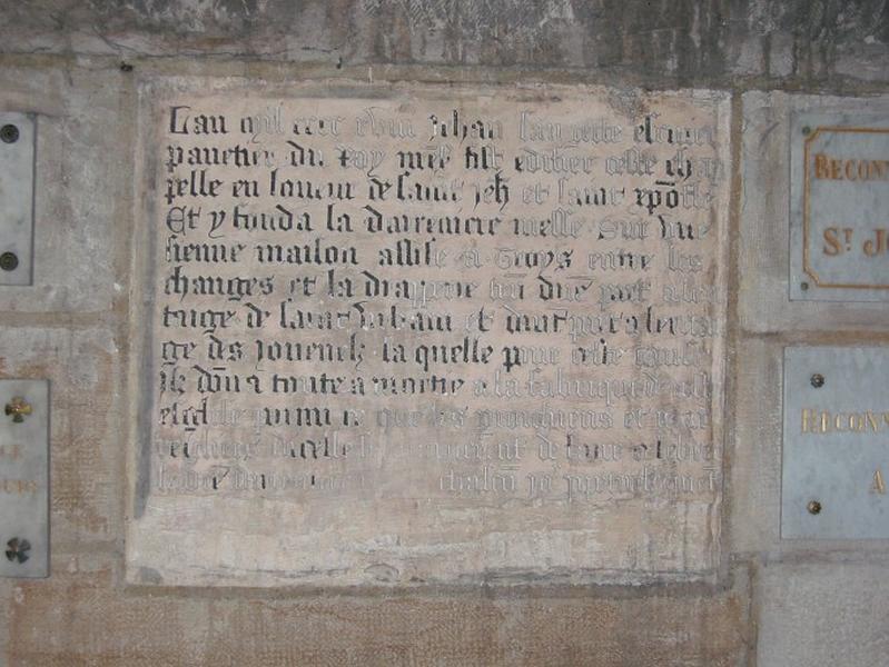 Dalle funéraire de Jehan Langette ou Saugette, écuyer