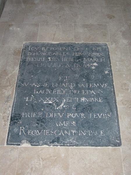 Dalle funéraire de Pierre Devilliers et Susanne Beiard (ou Belard)