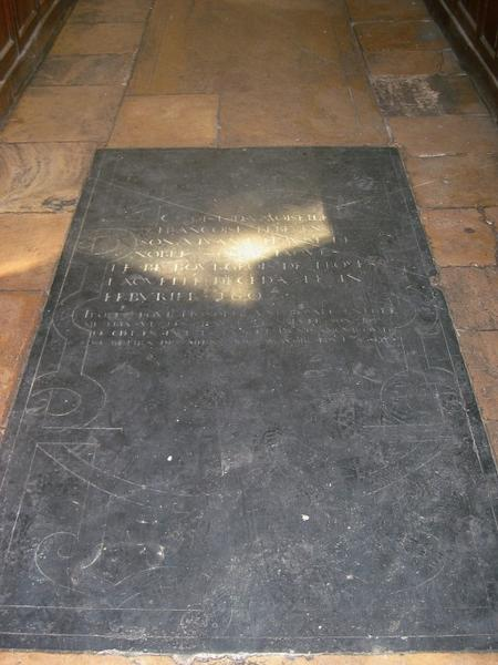 Dalle funéraire de Françoise Le Bé, épouse de Jacques Le Bé