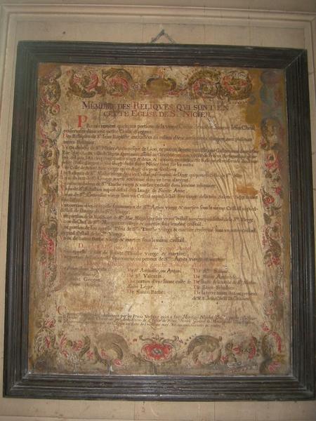 Tableau commémoratif : Mémoire des reliques qui sont en cette église de St Nizier