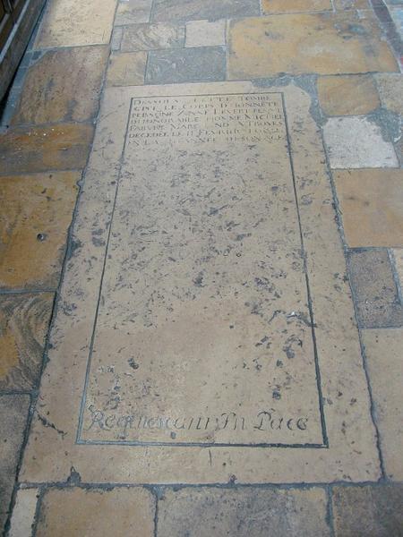 Dalle funéraire de Anne Levert, épouse de Michel Fabvre, marchand