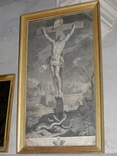 Estampe (?) : Christ en croix