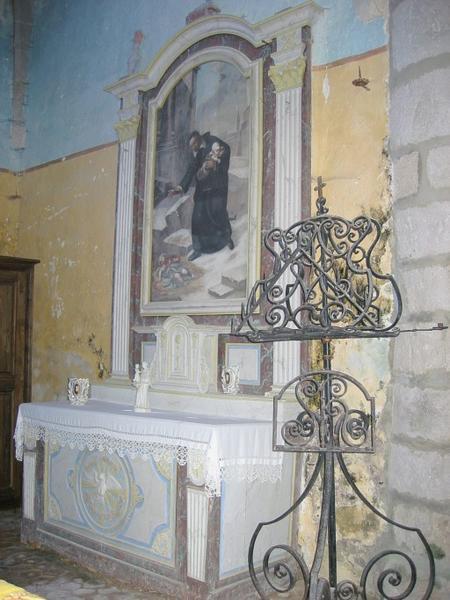Autel secondaire sud, retable, tabernacle, tableau : Saint Vincent de Paul