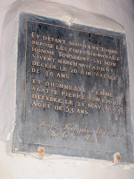 Dalle funéraire de Toussaint Salmon et de sa femme