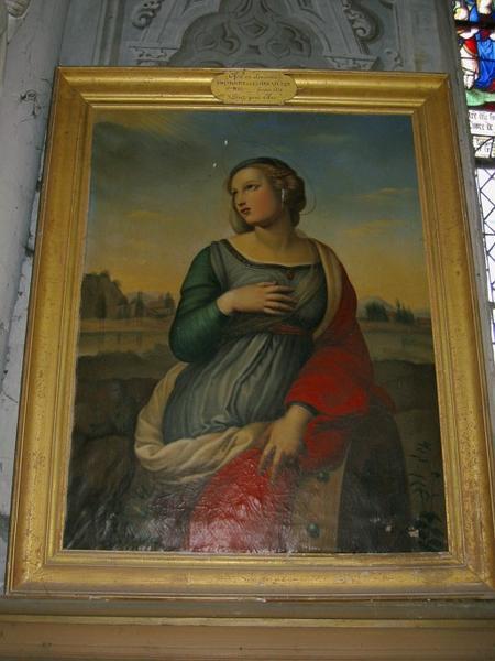 Tableau : Sainte Catherine (?), cadre