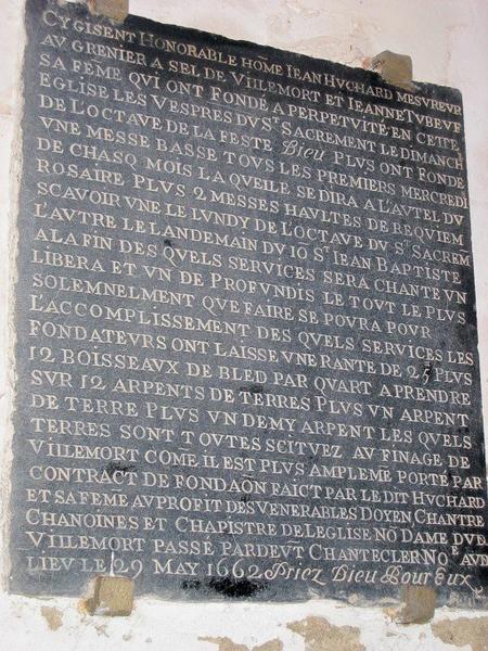 Plaque commémorative de fondation de Jean Huchard et de sa femme Jeanne Tubeuf
