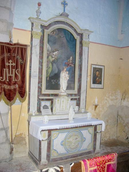 Autel secondaire nord, retable, tabernacle, tableau : Annonciation