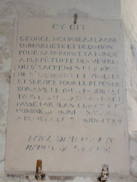 Plaque commémorative de fondation de Georges Hourseau Laisne