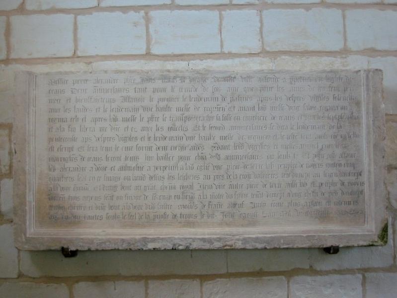 Dalle funéraire et de fondation et de donation de Pierre Alexandre