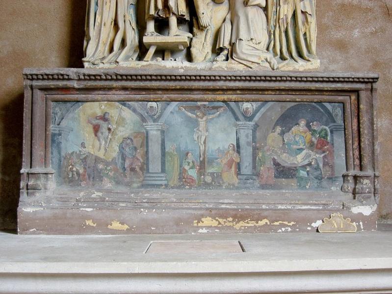 Retable : Crucifixion, Mise au tombeau, Résurrection