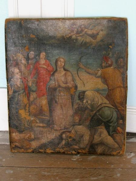 Tableau : Sainte Ursule (?), archers (conservé à la mairie de Mussy-sur-Seine)